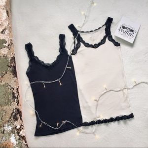 Ribbed Tank Top With Lace Uniqlo CK Lot
